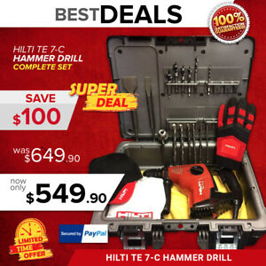 Hilti Te 7 c Hammer Drill preowned free A Lot Bits Chisel Case Fast Ship