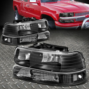 For 99 02 Chevy Silverado Black Housing Clear Corner Headlight Bumper Head Lamp