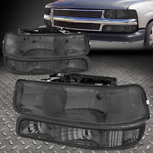 For 1999 2002 Chevy Silverado Smoked Housing Clear Corner Headlight Upper lower