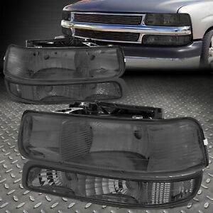 For 99 02 Chevy Silverado Smoked Housing Clear Corner Headlight Bumper Head Lamp