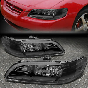 For 98 02 Honda Accord Black Housing Clear Corner Headlight Replacement Lamps