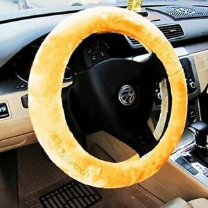 Zone Tech Beige Plush Sheepskin Comfortable Stretch On Car Steering Wheel Cover