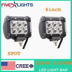 Fs 2 X Light Bar 4 Led 18w Spot Motorcycle Work Off Road Fog Driving Cree Suv