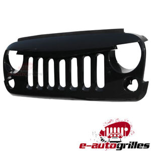 2007 2018 Jeep Wrangler Jk Grill Grille Angry Bird Glossy Front Hood Black