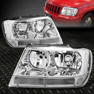 For 1999 2004 Jeep Grand Cherokee Chrome Housing Clear Corner Headlight lamp Set