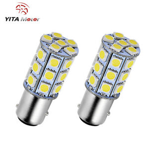 2x White 1157 Bay15d 5050 27 Smd Tail Brake Stop Backup Reverse Led Light Bulbs