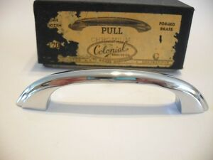 Vintage Nos Heavy Chrome Plated Forged Brass Drawer Cabinet Door Pulls Handles