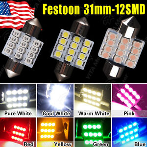 Lot 100 X Multi Color 31mm 12 Led Smd Festoon Dome Map Interior Car Lights Bulb