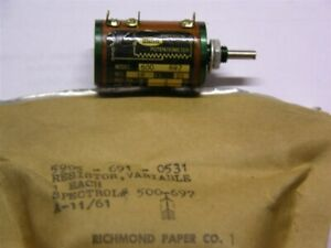 Vintage Mil spec Spectrol 500 697 18 Ohm 2w 2 10 turn Precision Potentiometer