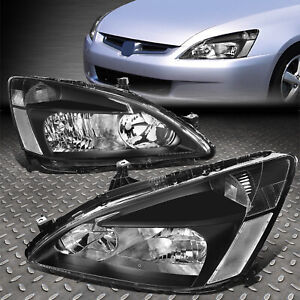 For 03 07 Honda Accord Black Housing Clear Corner Headlight Replacement Lamps