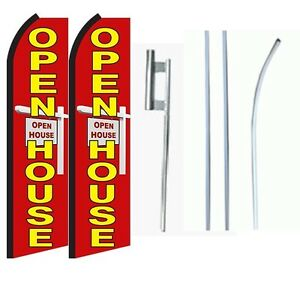 Open House Standard Size Swooper Flag With Complete 2 Full Set