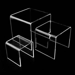 3pc Acrylic Clear Display Risers 3 4 5 Inch Jewelry Retail Showcase Fixture