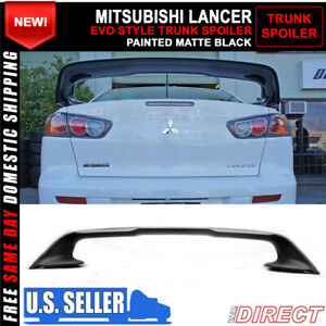 08 17 Mitsubishi Lancer Rear Evo X 10 Trunk Spoiler Wing Lid Matte Black Abs