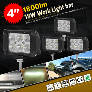 4x 18w 4inch Led Work Light Bar Pods Flood Offroad Lamp For Atv Jeep Ute Cube