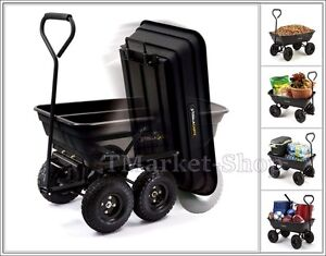 New 4 Wheel Garden Dump Cart Trailer Tow Lawn Lift Heavy Transport Utility Wagon