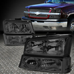 For 2003 2006 Chevy Silverado Smoked Housing Clear Side Headlight lamp Set 4pcs