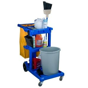 Janitor Housekeeping Cleaning Cart 25 gallon Bag W 3 Shelves