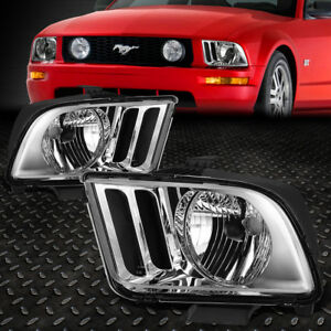 For 05 09 Ford Mustang S197 Pair Chrome Housing Headlight Replacement Head Lamps