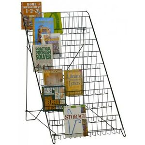 10 Open Shelf Wire Literature Display Rack Floor Model In Black