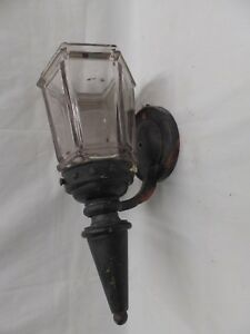 Antique Copper Porch Sconce Thick Heavy Hexagonal Glass Globe Old Light 4518 15