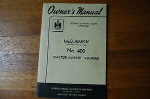 Ih International 400a Tractor Manure Spreader Set Up Instructions Parts Manual