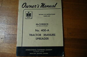 Ih International 400a Tractor Manure Spreader Set Up Parts Manual Book Catalog