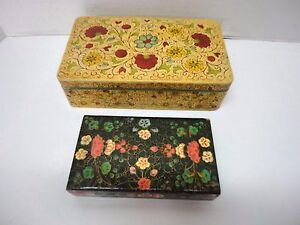 2 Jewelry Sewing Trinket Boxes Paper Mache Jerywil Japan Wooden Lacquer India
