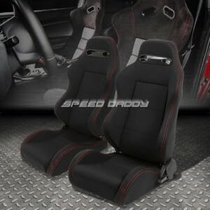 2 X Type R Fully Reclinable Upholstery Bucket Racing Seats Sliders Black Stitch