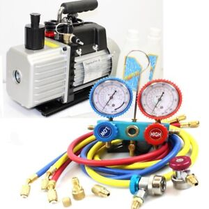 Combo 3 5cfm Two Stage A c Vacuum Pump R410a R134a Hvac Ac Manifold Gauges