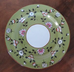 Antique Early 19th Century English Spode Creamware Plate Olive Green Pearlware