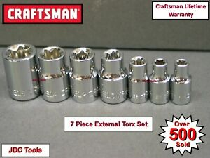 Craftsman Hand Tools 7pc Lot External Torx Star Bit Ratchet Wrench Socket Set