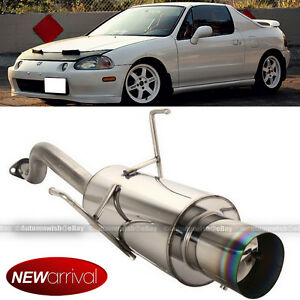 Fit 93 97 Del Sol Stainless Steel Bolt On Axle Back Exhaust Muffler Green Tip
