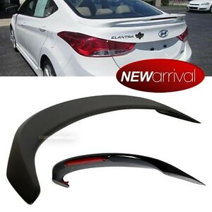 For 11 16 Elantra Glossy Black Rear Tail Trunk Wing Spoiler With Red Led Light
