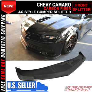 For 14 15 Chevy Camaro Ss Only Front Bumper Lip Spoiler Splitter Carbon Fiber
