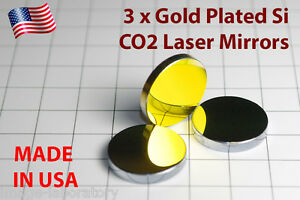 3x Made In Usa For Co2 Gold Plated Si Mirror 20mm 40w 100w Laser Cutter Engraver