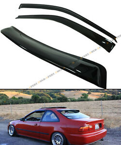 For 92 95 5th Gen Honda Civic Coupe Ej1 Ej Smoke Rear Window Visor Door Visors
