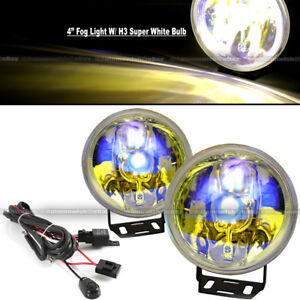 For 5 Series 4 Round Ion Yellow Bumper Driving Fog Light Lamp Kit Complete Set