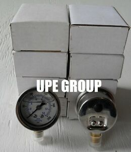 10 Pack Liquid Filled Pressure Gauge Compressor 1 5 Dial 200 Psi Lower Mnt 1 8