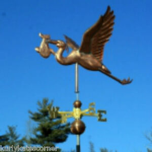 Stork W Baby Weathervane W Copper Balls Brass Directionals Made In Usa 262 2
