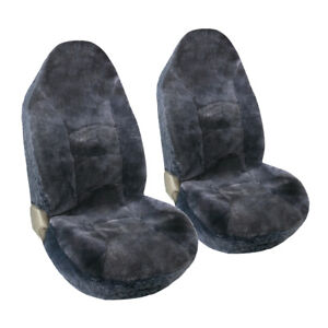 Two Car High Back Seat Covers With Two Shoulder Pads Sheepskin Charcoal Gray
