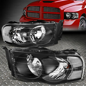 For 02 05 Dodge Ram 1500 2500 3500 Black Housing Clear Corner Headlight Lamps