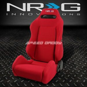 Nrg Type r Fully Reclinable Racing Seat mount Slider Rail Red Driver Left Side