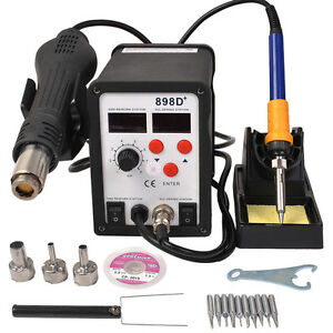 Hot Air Gun Solder Iron Welder Esd 2in1 898d Soldering Rework Station Durable