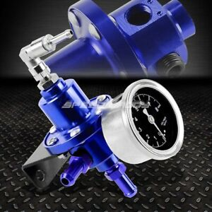 Aluminum 160 Psi Adjustable 1 1 Fuel Pressure Regulator kpa Oil Gauge Kit Blue