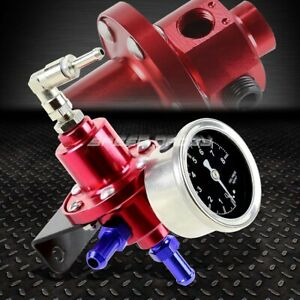 Aluminum 160 Psi Adjustable 1 1 Fuel Pressure Regulator Kpa Oil Gauge Kit Red