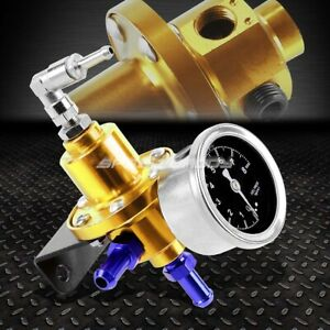 Aluminum 160 Psi Adjustable 1 1 Fuel Pressure Regulator Kpa Oil Gauge Kit Gold