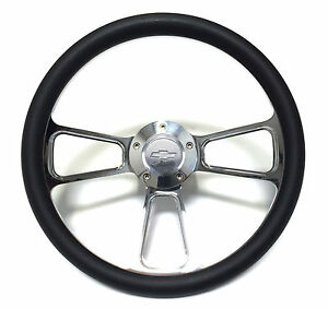 1967 Camaro 14 Billet Black Muscle Style Wheel With Chevy Bowtie Horn Adapter