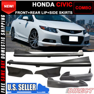 For Civic 9th Gen 2dr Door Coupe H Style Front Side Rear Bumper Lip Combo Pu