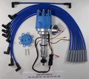 Ford Fe 352 360 390 427 428 Blue Small Cap Hei Distributor Spark Plug Wires