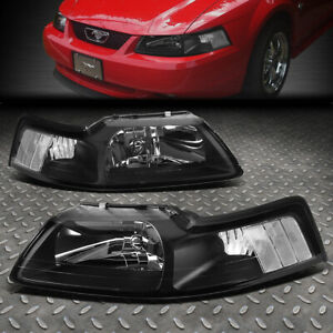 For 1999 2004 Ford Mustang Pair Black Housing Clear Corner Headlight lamp Set